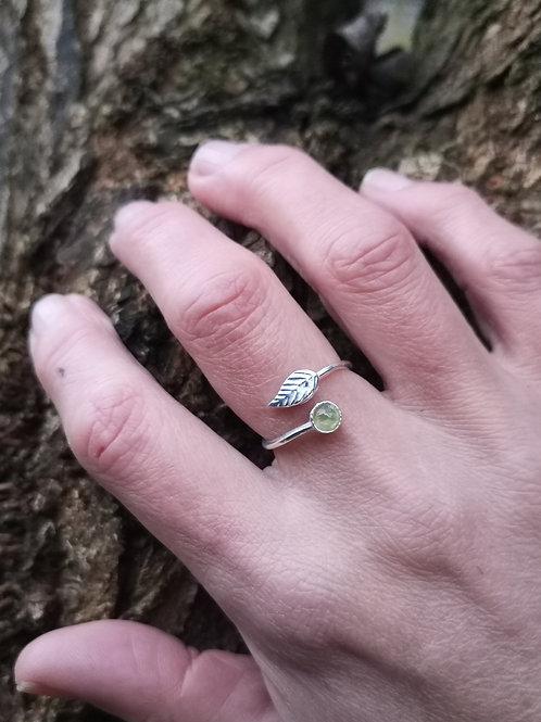 Dainty Adjustable Silver Leaf and Peridot or Amber Ring