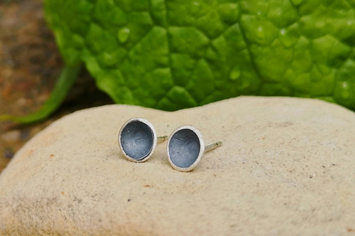 Tiny Oxidised silver concave disc  Studs