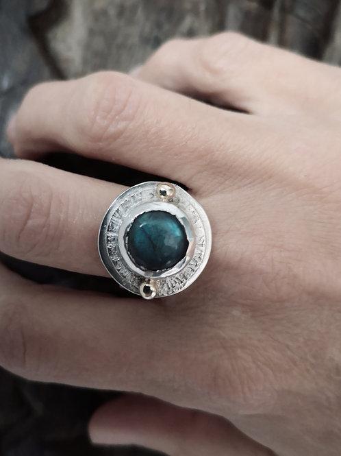Silver Gold & Labradorite Ring
