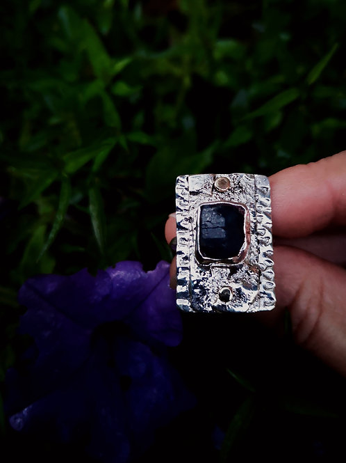 Gorgeous Raw Sapphire Gold & Silver ring