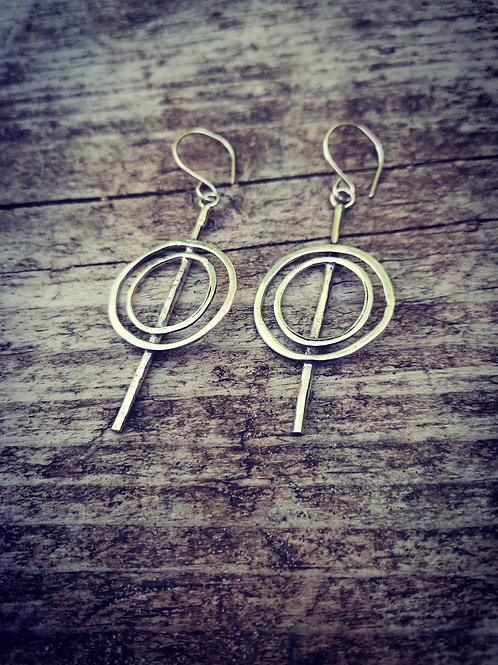 Large Silver circle and stem drop Earrings