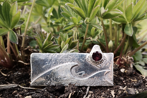 Sterling Silver & Garnet Wave Brooch