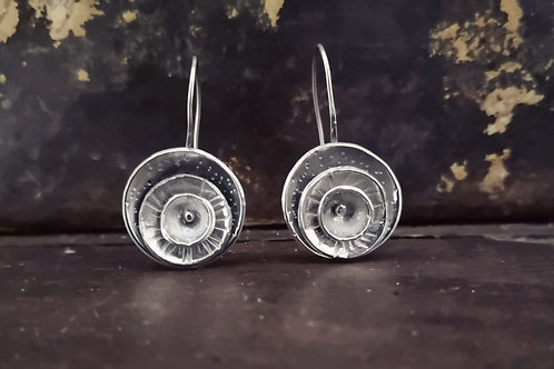 Textured layered silver disc earrings
