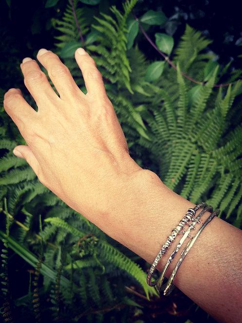 Sterling Silver & 9 + 18 carat gold bangles