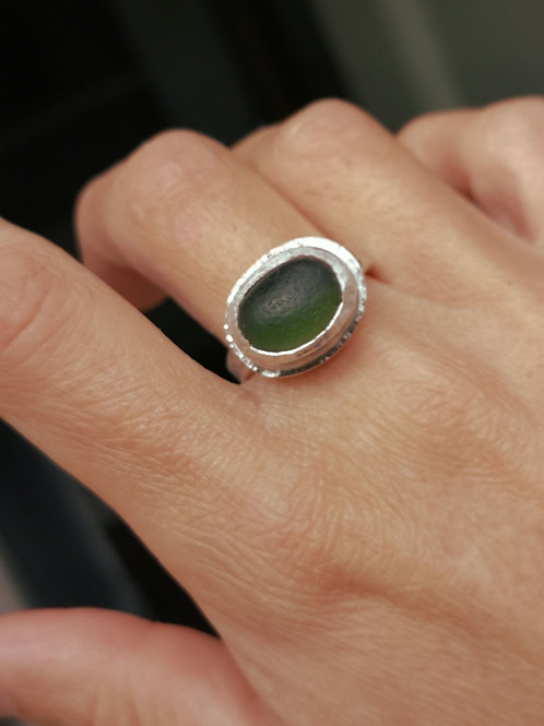 Sterling silver and Sea glass ring