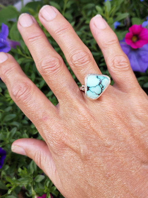 Genuine Turquoise, Sterling Silver & 9 Carat Gold Ring