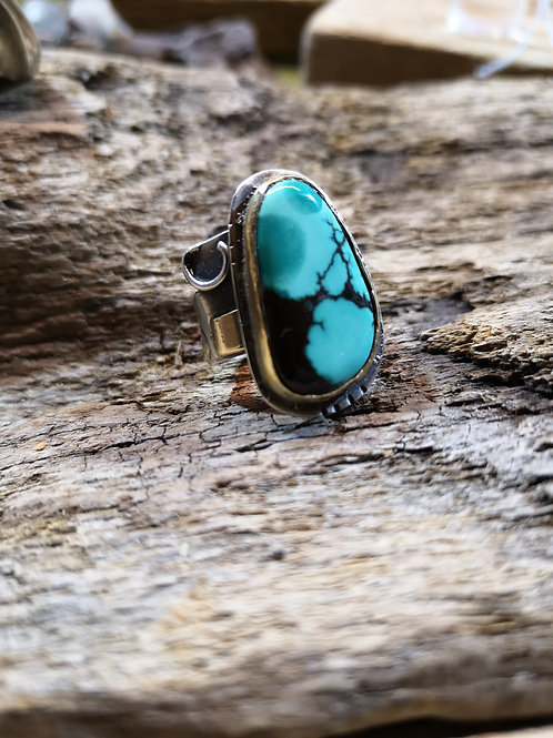 Turquoise Silver & 18 carat gold Ring