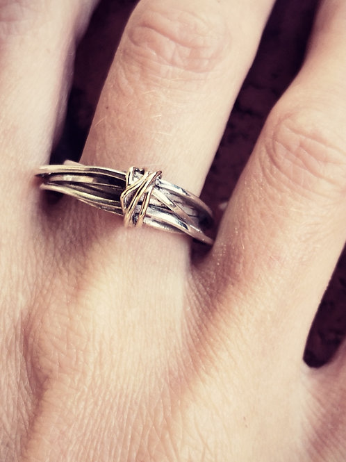 Sterling silver & 9 Carat gold wire wrap ring