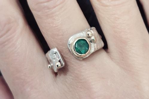 sterling silver gold &  Gemstone ring