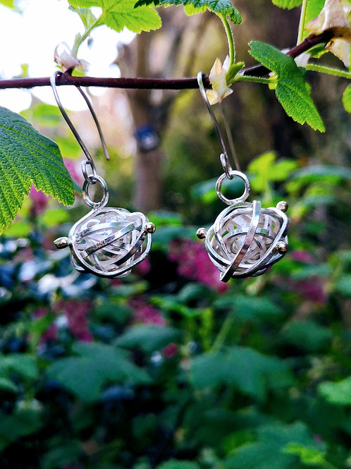 Silver Nest Earrings with Gold Granulations