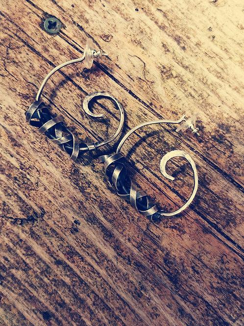 Oxidised sterling silver large swirl hoops
