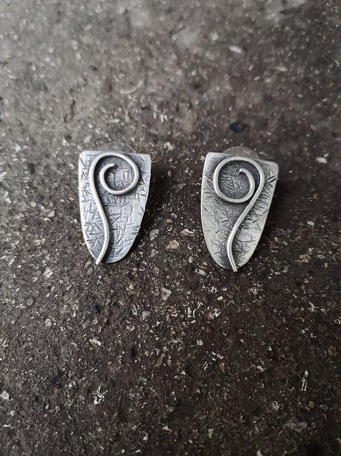Textured Silver swirl studs