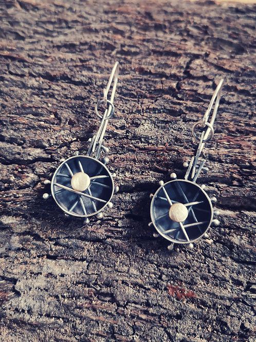 Sterling silver and gold abstract wheel Earrings