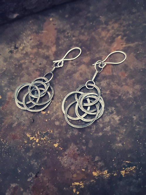 Oxidised Sterling silver random hoop earrings