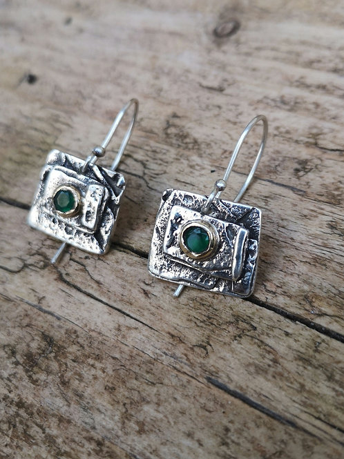Fused Silver, Gold and Adventurine Earrings