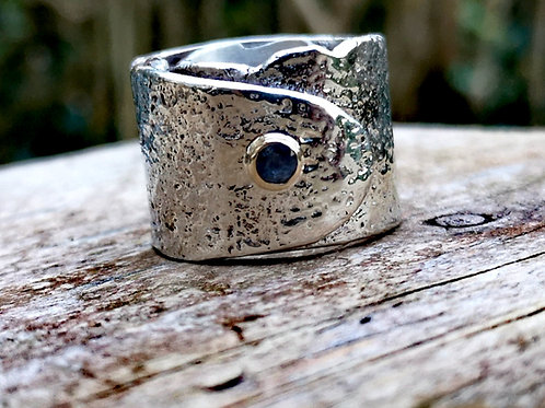 Very Chunky Silver, Gold & Sapphire wrap around ring