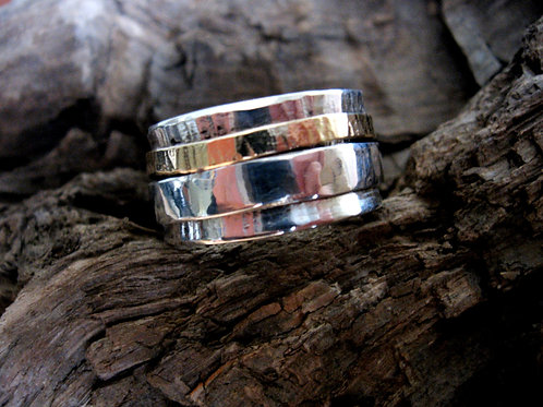 Chunky Organic Silver & Gold Spinning Ring