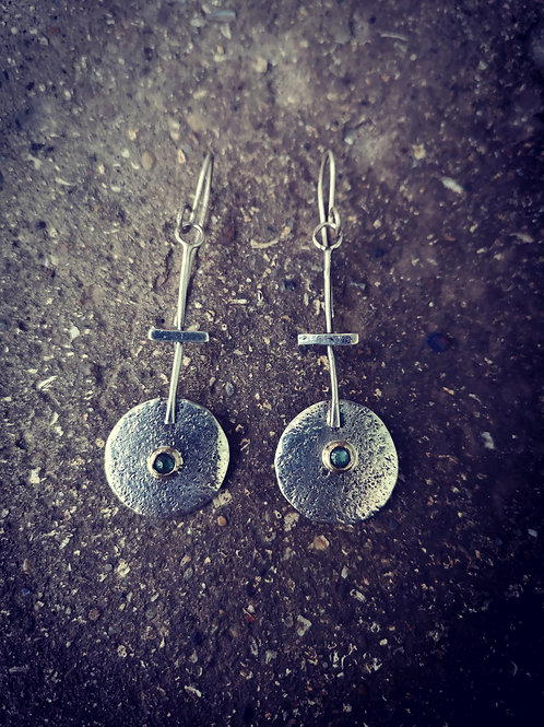 Textured Silver and Emerald Earrings