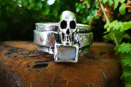 Silver and Rainbow Moonstone Skull Ring