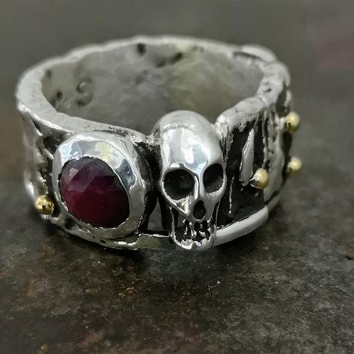 Heavy Fused Silver & gold skull ring