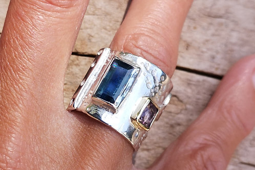 Sterling Silver, faceted Kyanite and Pink Spinel Ring