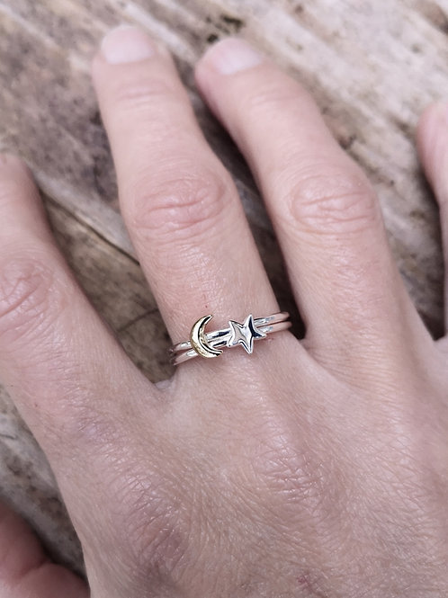Dainty Silver  Moon & Star stacker ring.