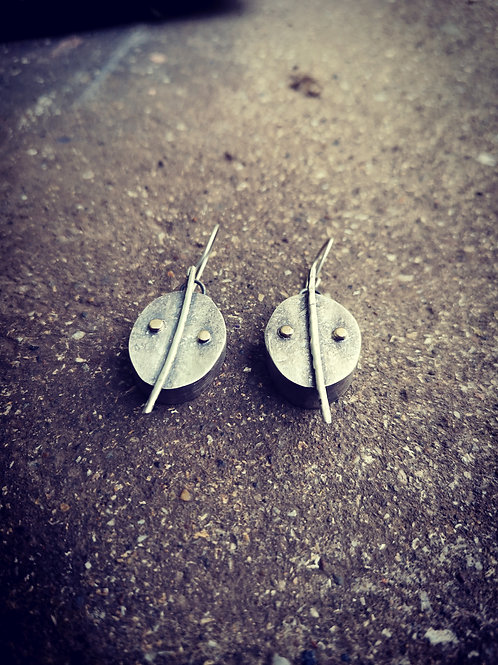 Hollow form Sterling Silver and gold earrings