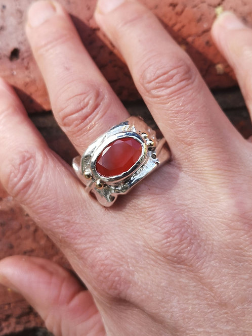 Chunky Silver, Gold and faceted Carnelian Ring