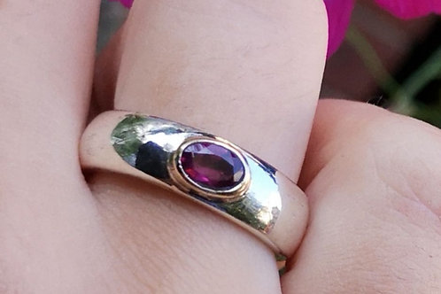Silver And Gold Rhodolite Garnet Ring