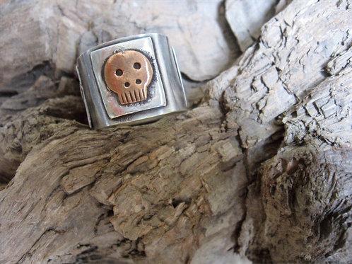 Oxidised Silver & Copper Skull ring