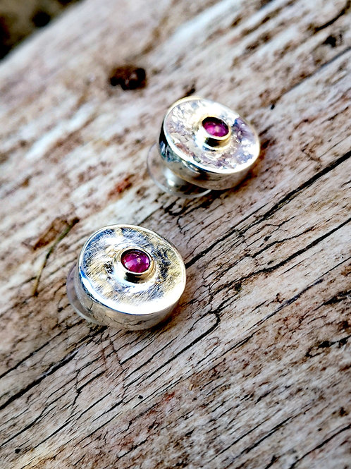 Sterling silver, Gold and Ruby Studs