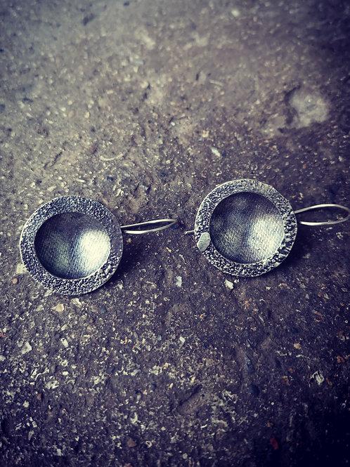 Silver Dust domed bowl Earrings