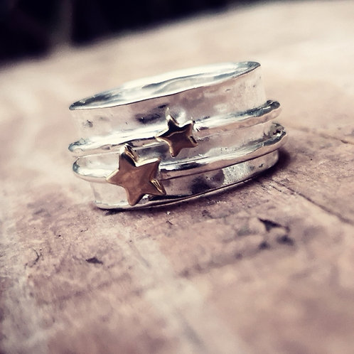 Silver and double brass star Spinning Ring