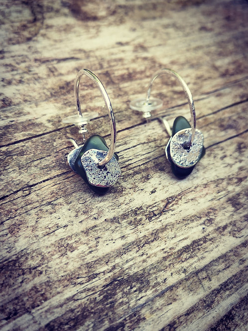 Sterling Silver & Sea glass Hoop Earrings