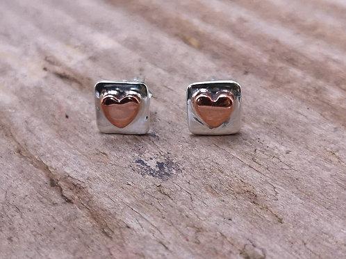 Sterling silver & copper heart studs