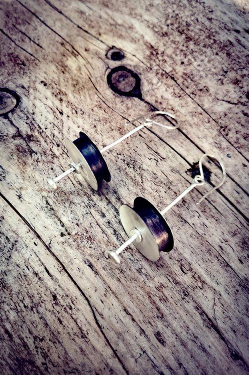 Large Oxidised sterling silver spool Earrings