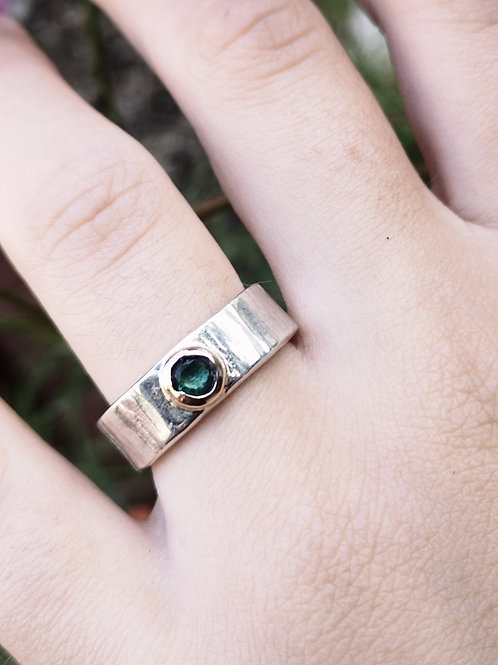 Silver Gold and Tsavorite Ring