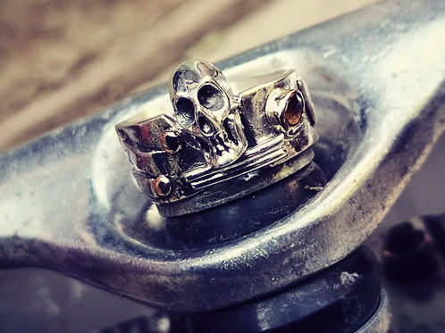 Silver, Gold and Citrine Skull Ring