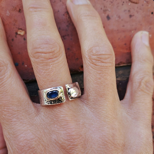 Beautiful Silver Gold and Kyanite Ring