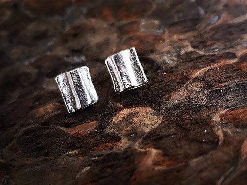Pretty little fused silver square studs