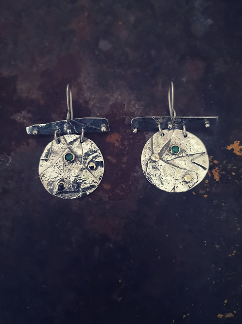Large textured Silver, Gold & Emerald Earrings