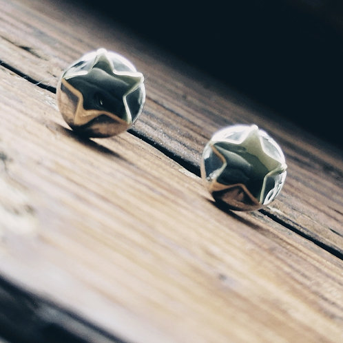 Sterling Silver and Brass star studs