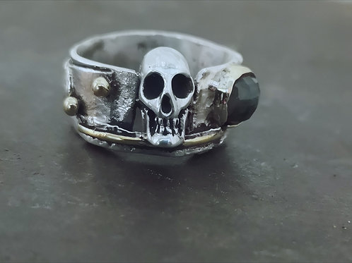 Fused textured silver & gold skull ring