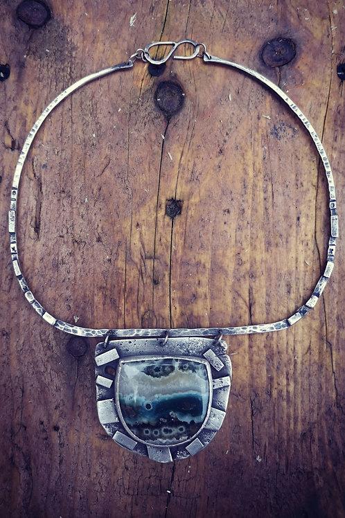 Stunning Sterling silver & AAA Ocean Jasper Neckpiece