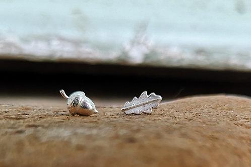 Tiny Sterling Silver Acorn & Oak leaf studs
