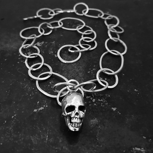 Sterling Silver Heavy Skull Necklace