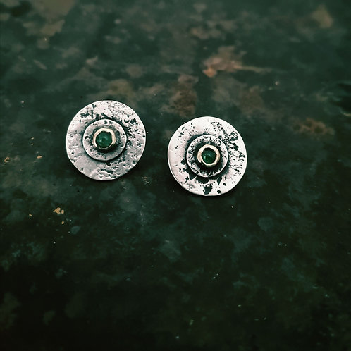 Textured Silver, Gold and Emerald studs