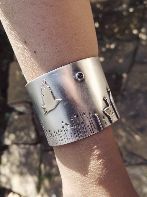 Wide  Sterling Silver as the crow flies cuff.