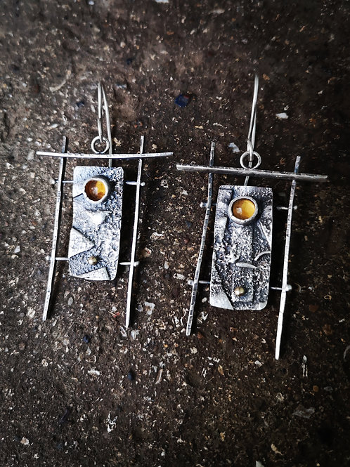 Stunning textured Silver and Citrine lantern earrings