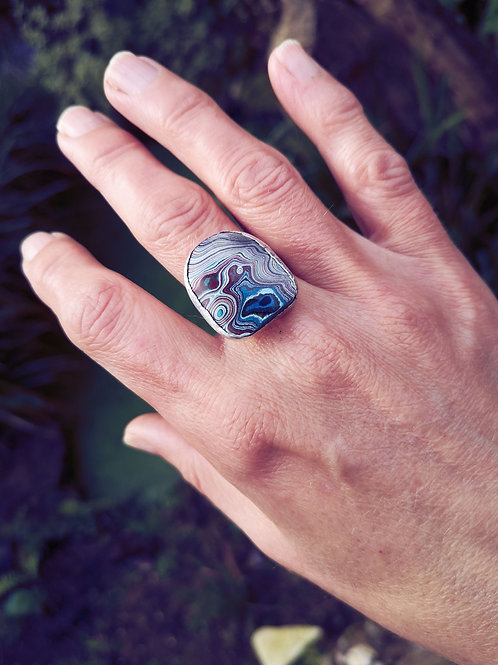 Sterling silver & Fordite Ring